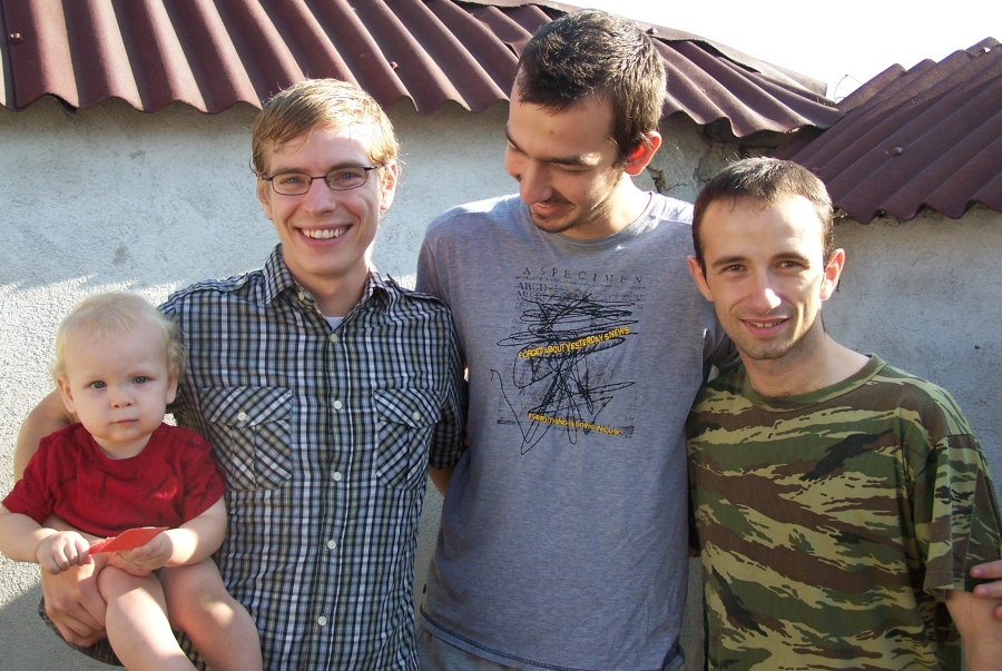 Jake with some young Romanian men he's been ministering to (from left: Isaac, Jake, Dan, Adi)