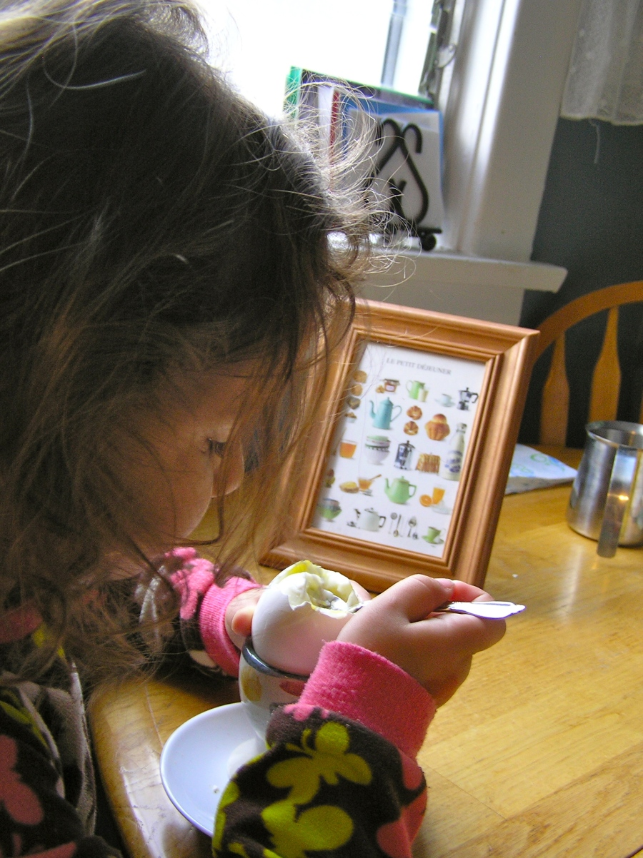 Our morning breakfast isn't quite as refined as those served in Downton Abbey - still in pajamas with bed head - but we can still enjoy a perfectly cooked egg from the cup.