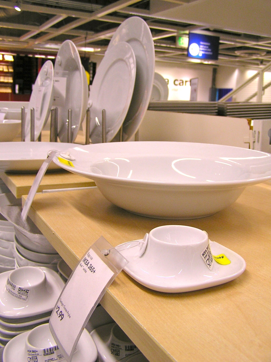 IKEA's egg cup with built-in saucer.  Quite handy (and cheap!).