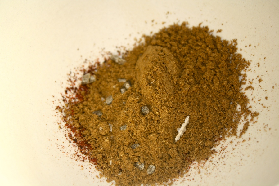 The spices, which I grind a few times in a mortar and pestle to bring out the flavors.