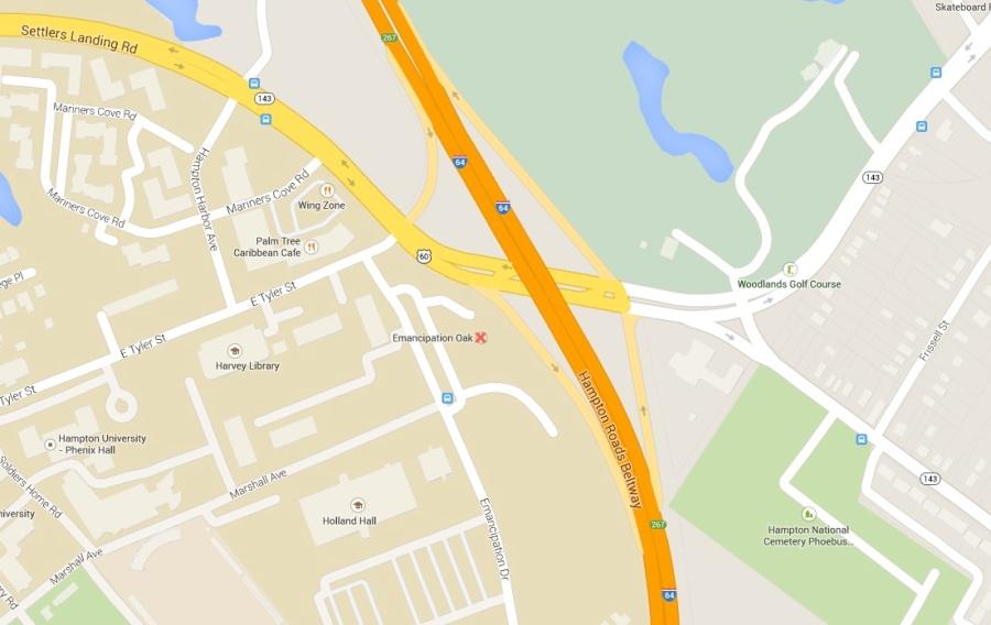 Location of Emancipation Oak