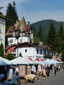 The town of Sinaia during a season of festivities. Sinaia is the Aspen of Romania - Romania's rich and famous retreat here for the summer, with skiing nearby in winter.