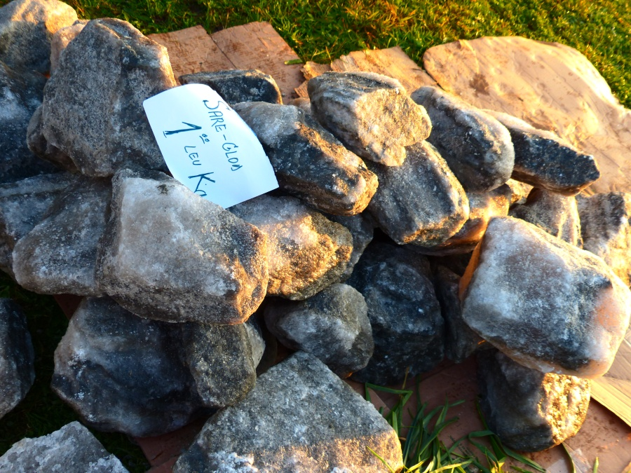 Bricks of salt mined in a town in central Romania - 1 Lei (25 cents) per kilo.