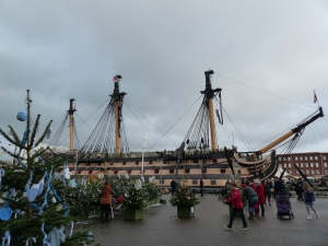 HMS Victory in Portsmouth with Christmas tree maze in the foreground.
