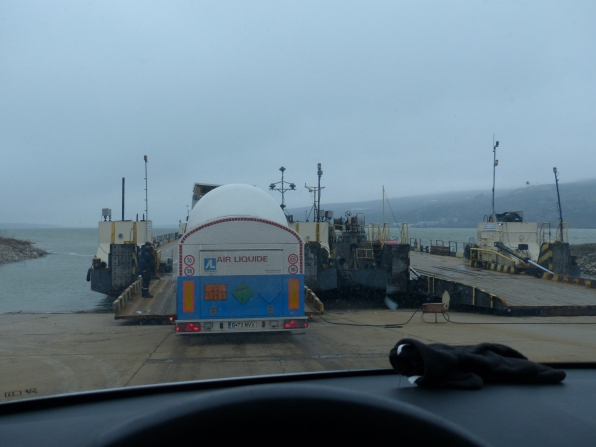 Driving on to the ferry behind the liquid gas truck. No worries there.