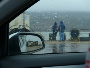 It was a rainy day when we crossed south, but those drop out the window aren't raindrops. The ferry is two flat platforms joined together with a small gap in the middle that shifts with the water, sending splashes up through the center of the ferry.