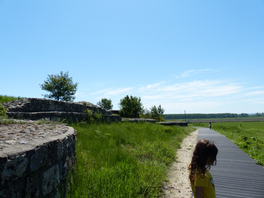 Walking the perimeter of the fortified walls.