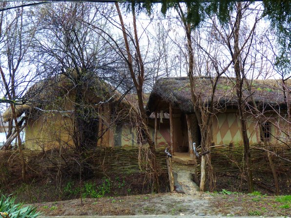 The Muzeului Câmpiei Boianului in Drăgăneşti-Olt. All the dwellings are recreations of the types of homes used for the past 6,000 years in this region. Neolithic settlements have been unearthed and served as a guide for the oldest dwellings, pictured here. A modern house, fully furnished, shows a typical Romanian village home. There are a variety of other structures and a small chapel.