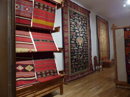 Traditional carpets - art in a different form - on display in the Craiova ethnographic museum.