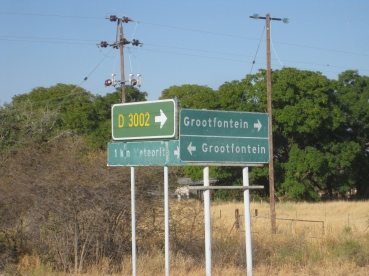 Upon leaving the meteor site, pick either direction to Grootfontein. Six of one, half a dozen of the other. . .