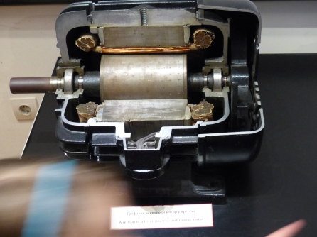 A section of a three phase asynchronous motor - one invention among many.