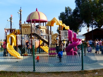 Playground in Ensenada. Notice the cruise ship in the background.