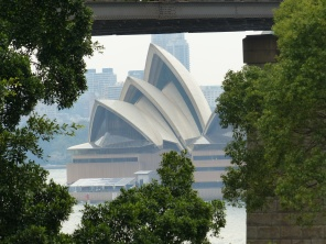 Opera House from Bradfield Park under the Sydney Harbour Bridge